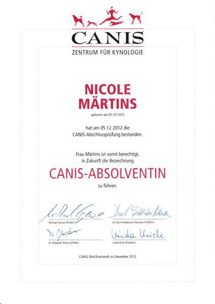 Zertifikat Canis - Zentrum für Kynologie