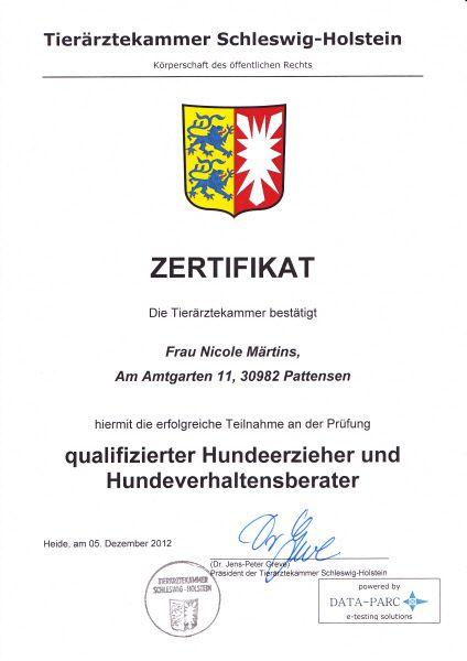 Zertifikat Tierärztekammer Schleswig-Holstein